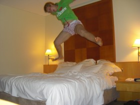 Anna enjoying her posh hotel room